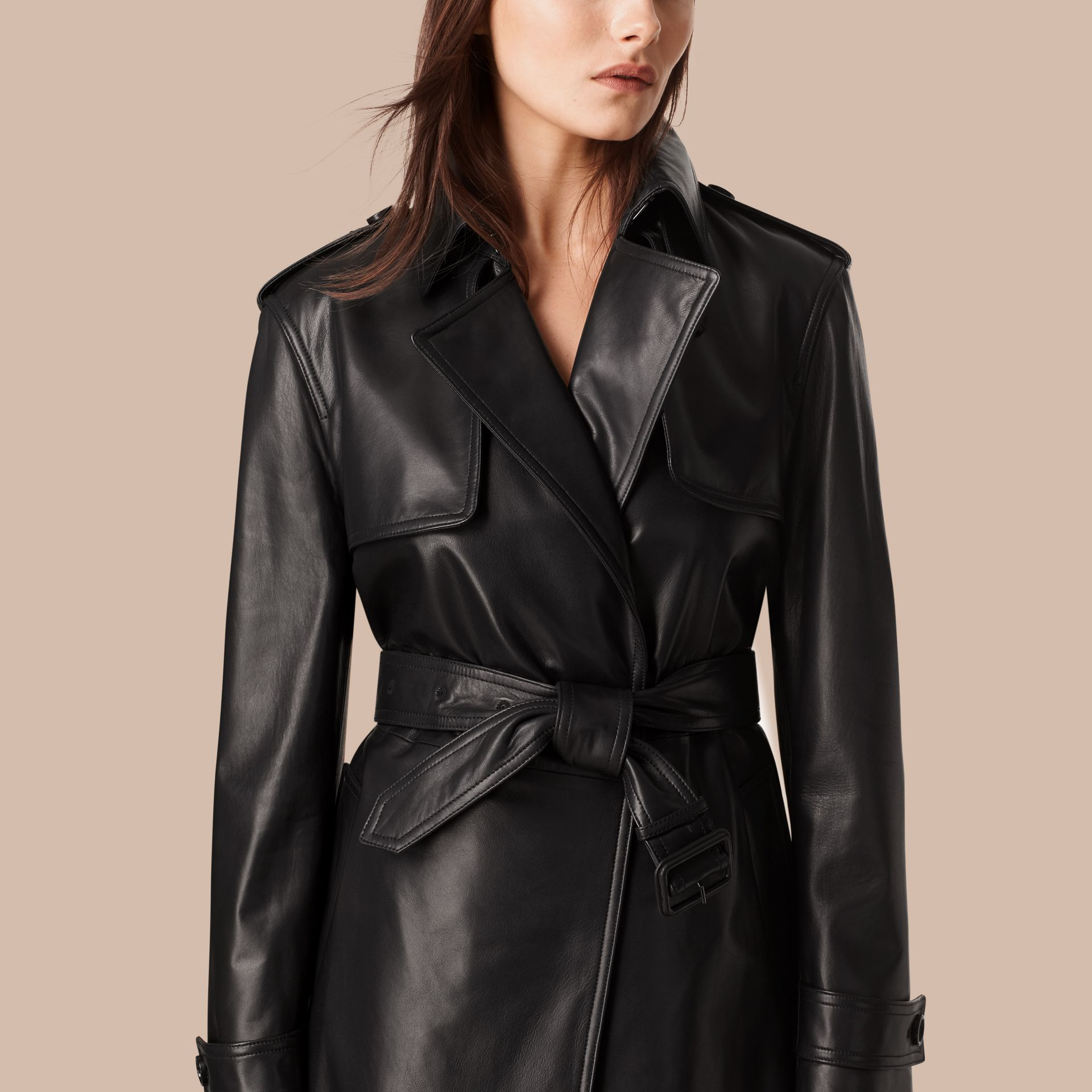 Black Oversize Wrap Lambskin Trench Coat - gallery image 2