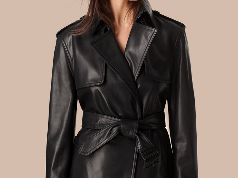 Black Oversize Wrap Lambskin Trench Coat - cell image 1