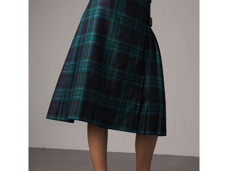 Tartan Wool Kilt in Pine Green - Women | Burberry Singapore - cell image 4