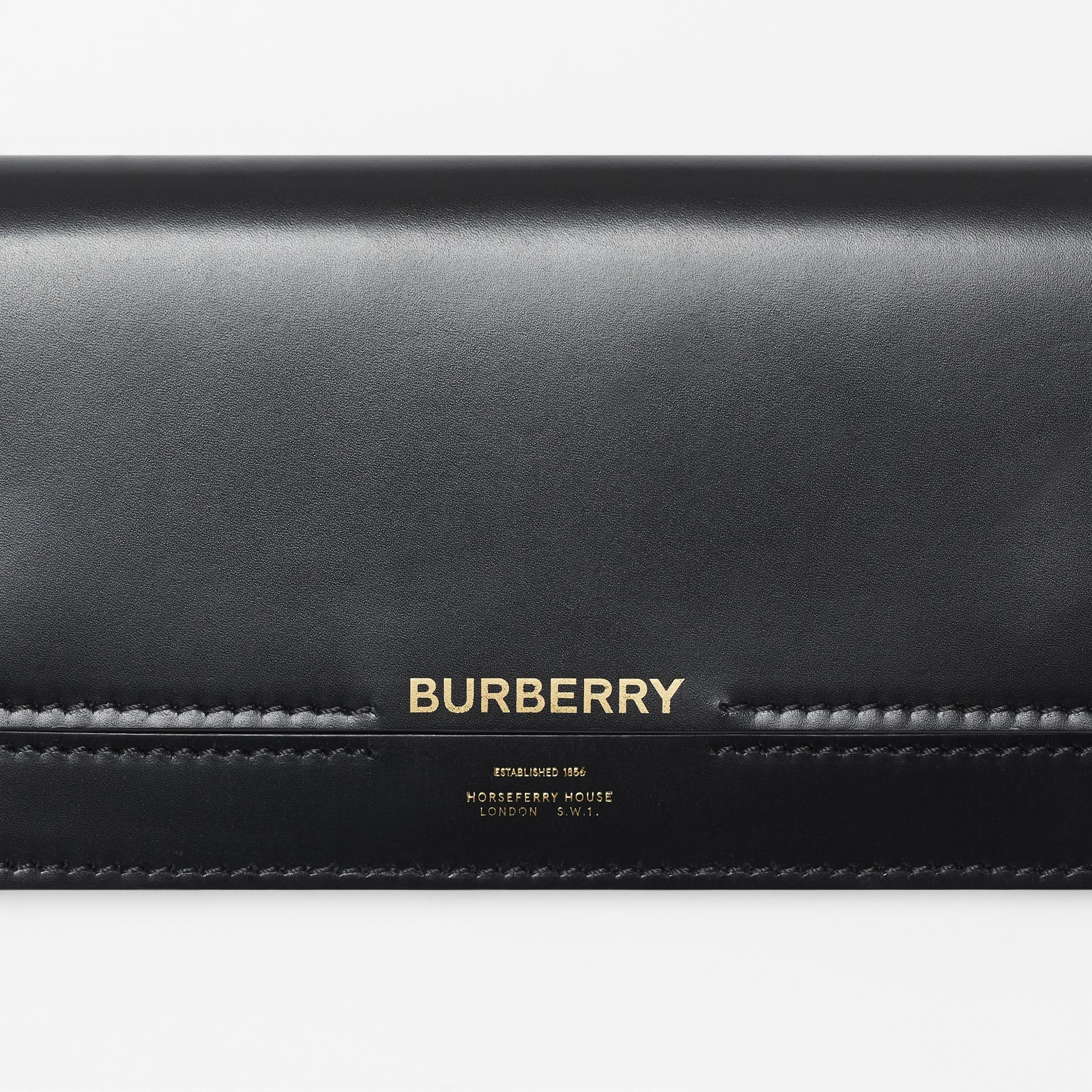 Horseferry Embossed Leather Continental Wallet in Black - Women | Burberry - gallery image 1