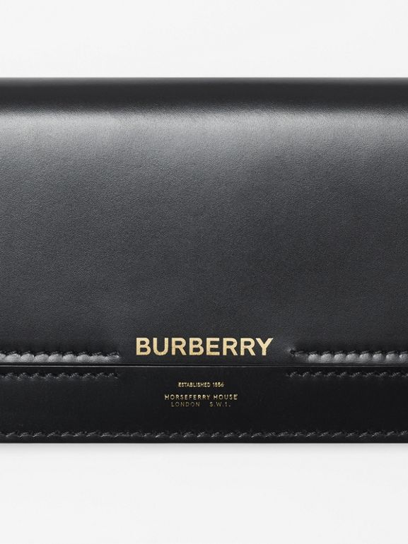 Horseferry Embossed Leather Continental Wallet in Black - Women | Burberry - cell image 1