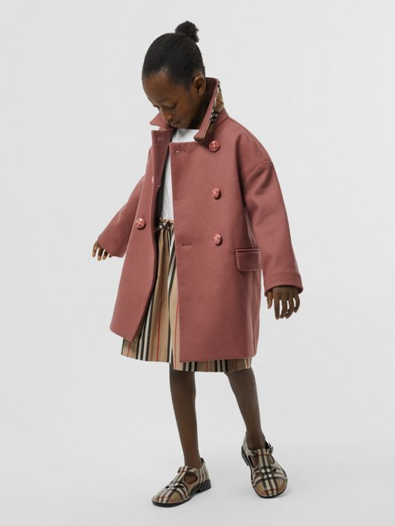 Melton Wool Tailored Pea Coat in Heather Pink