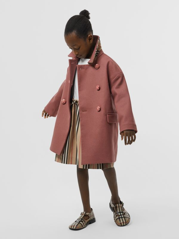 Melton Wool Tailored Pea Coat in Heather Pink | Burberry - cell image 2