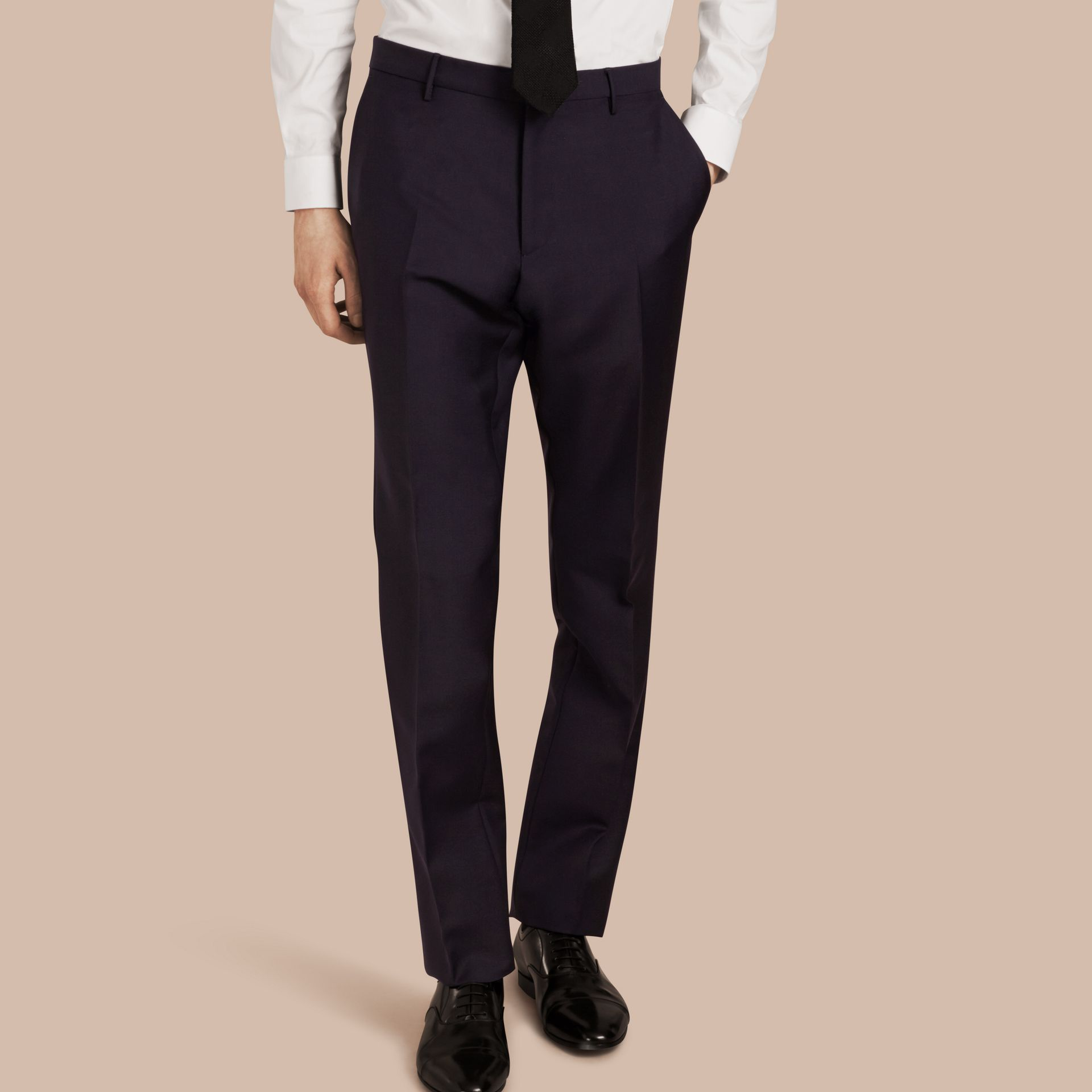 True navy Modern Fit Wool Mohair Trousers True Navy - gallery image 1