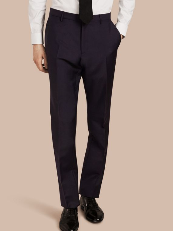 Modern Fit Wool Mohair Trousers True Navy