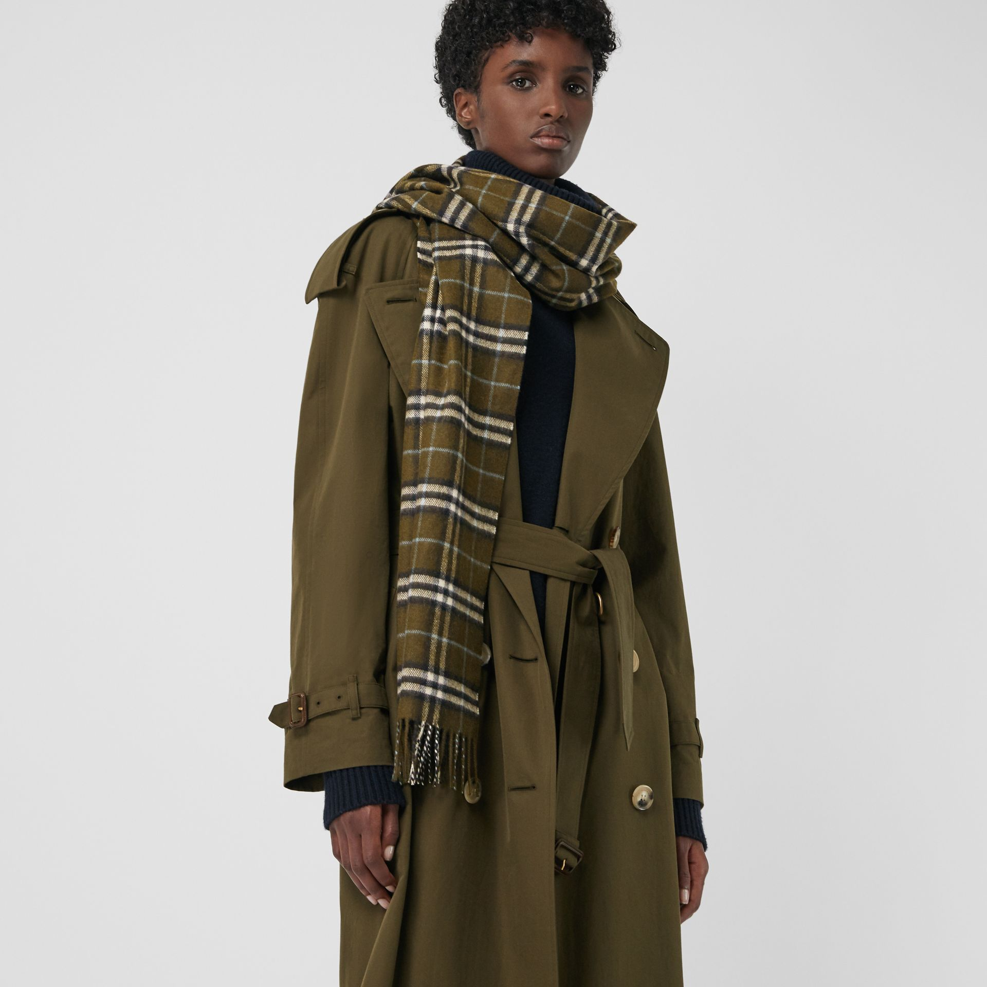 Check Cashmere Scarf in Military Brown | Burberry - gallery image 3