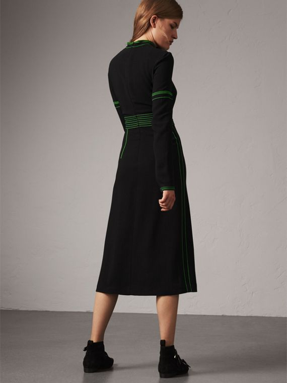 Topstitch Detail Crepe High-neck Dress in Black - Women | Burberry United Kingdom - cell image 2