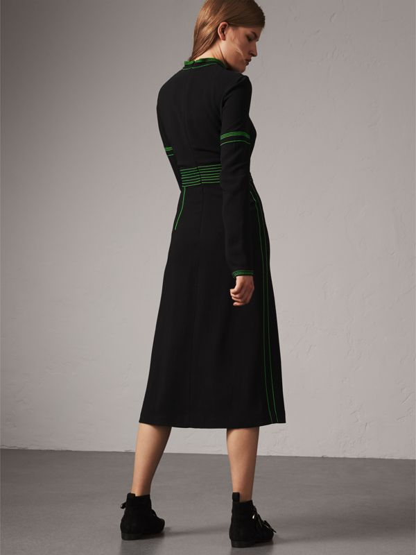 Topstitch Detail Crepe High-neck Dress in Black - Women | Burberry - cell image 2