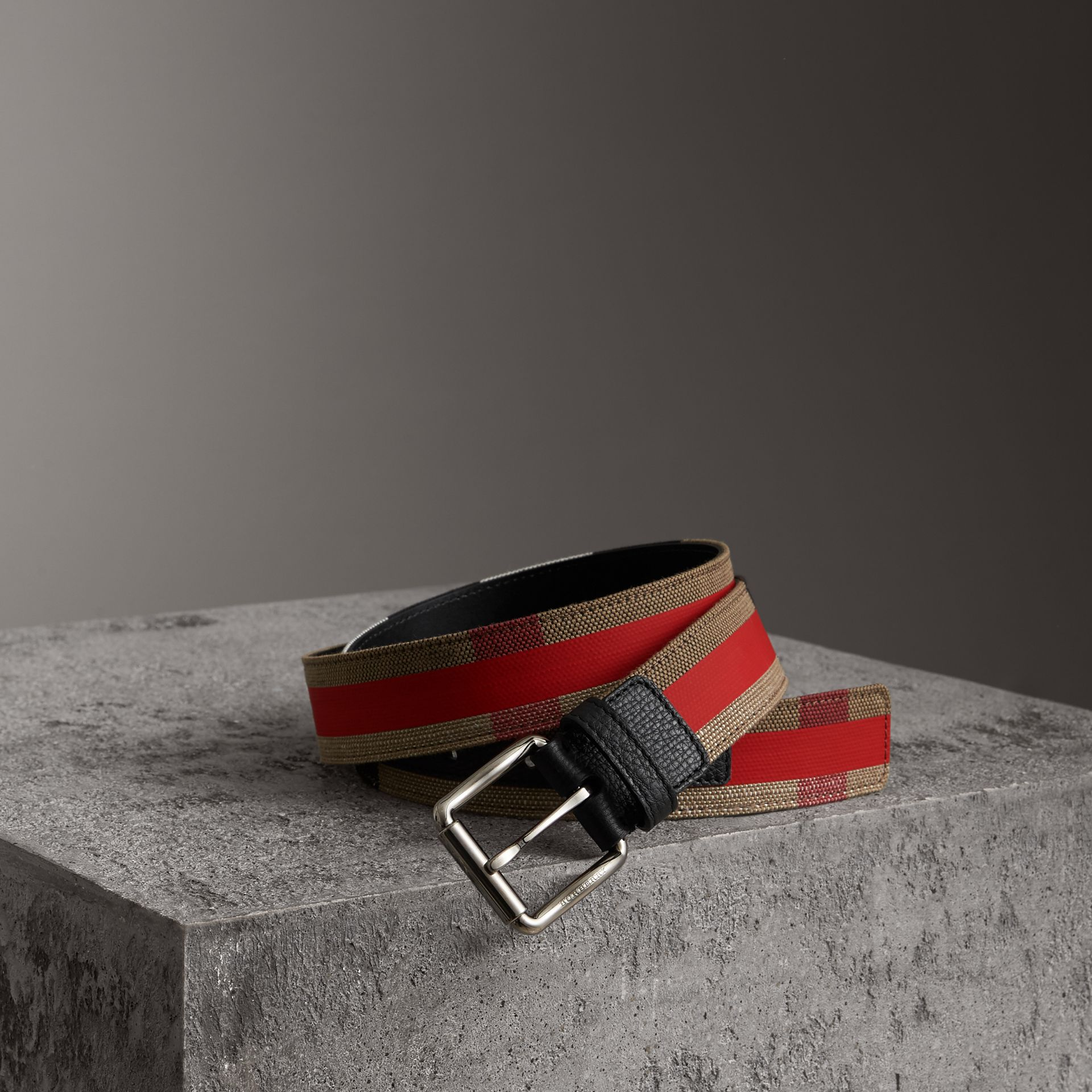 Striped Check Jute Cotton Belt in Military Red - Men | Burberry United Kingdom - gallery image 0