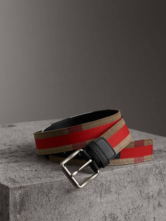 Striped Check Jute Cotton Belt in Military Red
