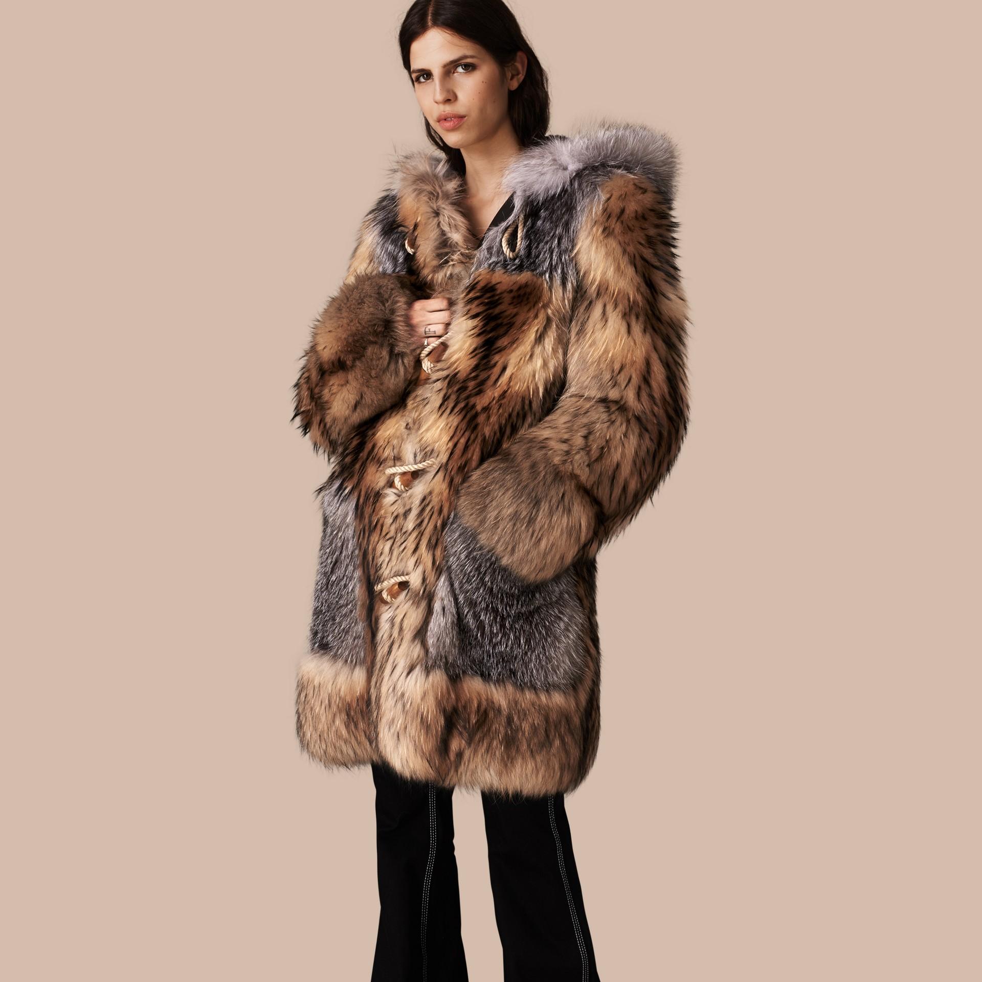 Camel Oversize Raccoon Duffle Coat - gallery image 1