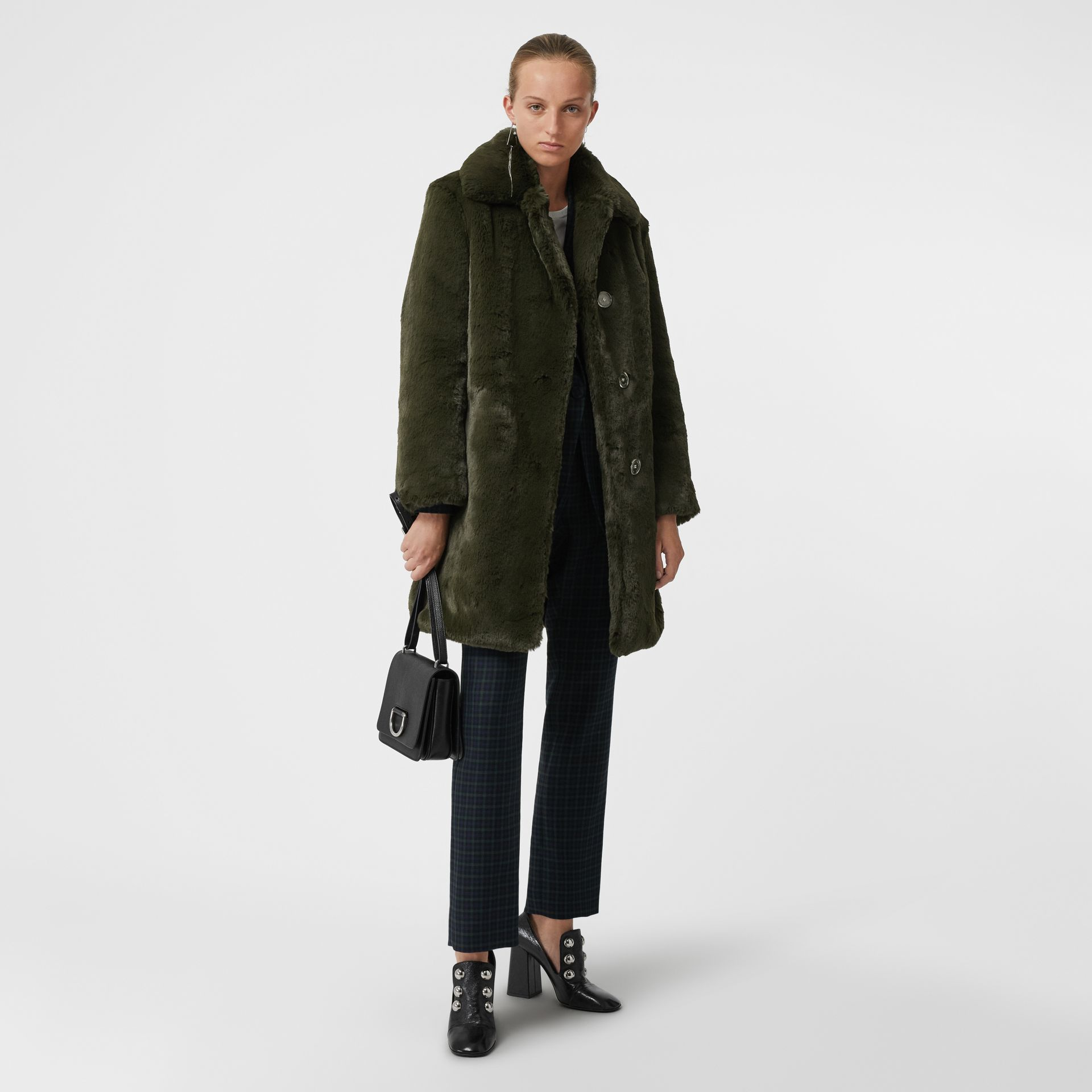 Faux Fur Single-breasted Coat in Dark Forest Green - Women | Burberry United Kingdom - gallery image 0