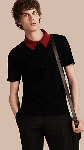 Contrast Collar Wool Blend Polo Shirt