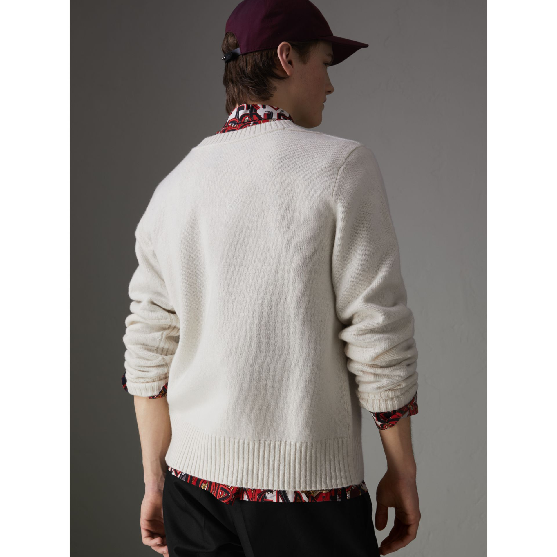 Anchor Intarsia Merino Wool Cashmere Sweater in Natural White - Men | Burberry Canada - gallery image 2