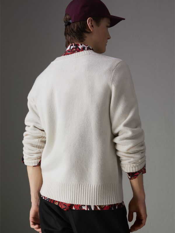 Anchor Intarsia Merino Wool Cashmere Sweater in Natural White - Men | Burberry Canada - cell image 2