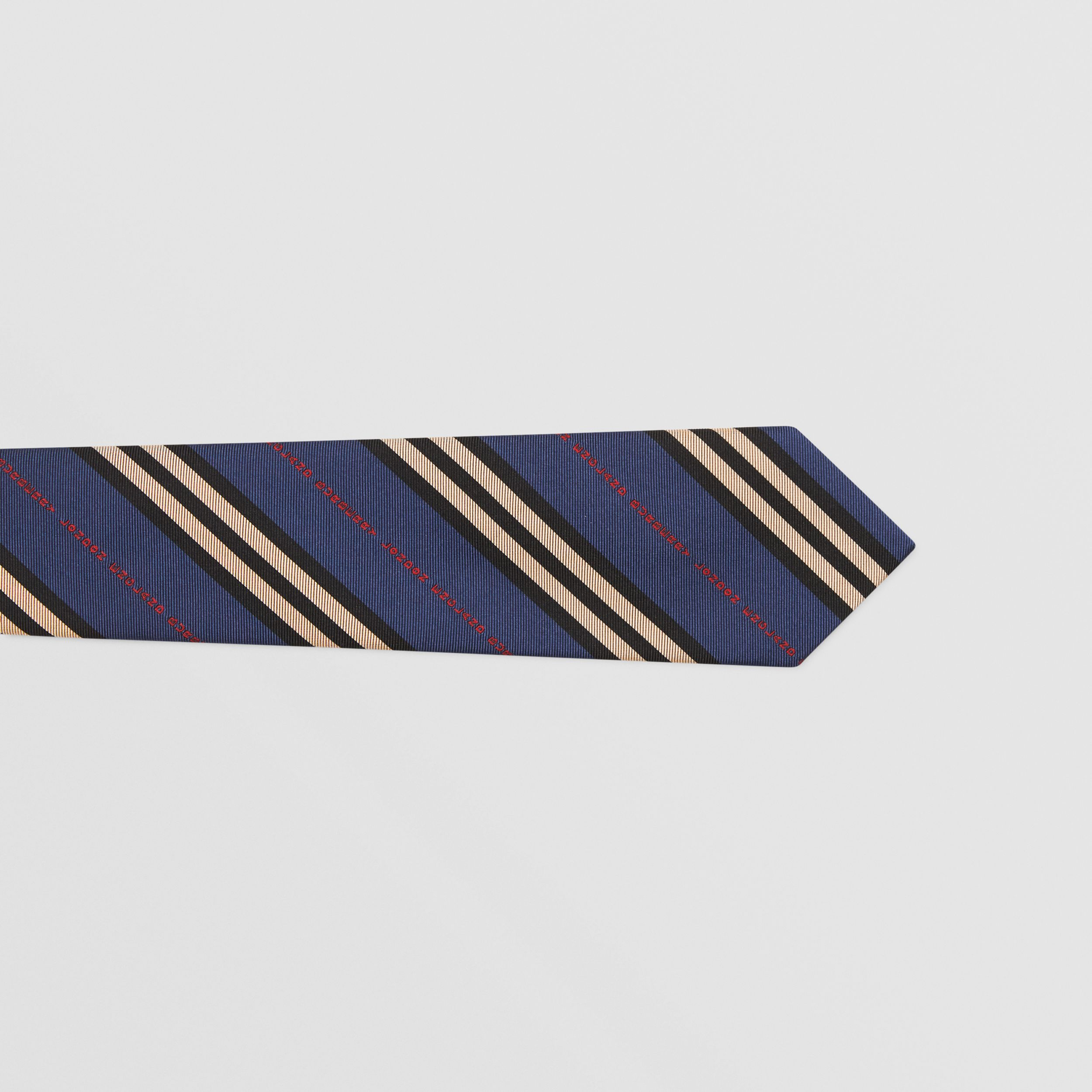 Classic Cut Logo and Stripe Silk Jacquard Tie in Bright Navy - Men | Burberry - 2