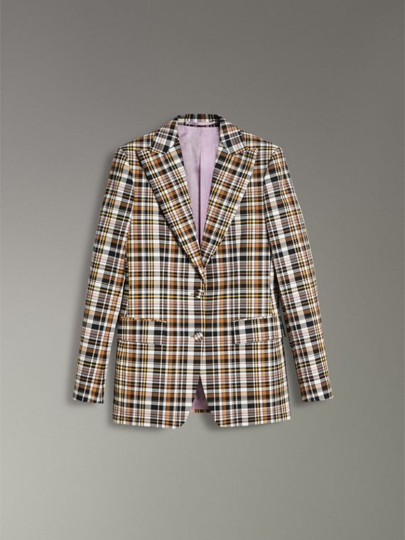 Check Stretch Cotton Peak Lapel Blazer in Bright Toffee - Women | Burberry - cell image 3