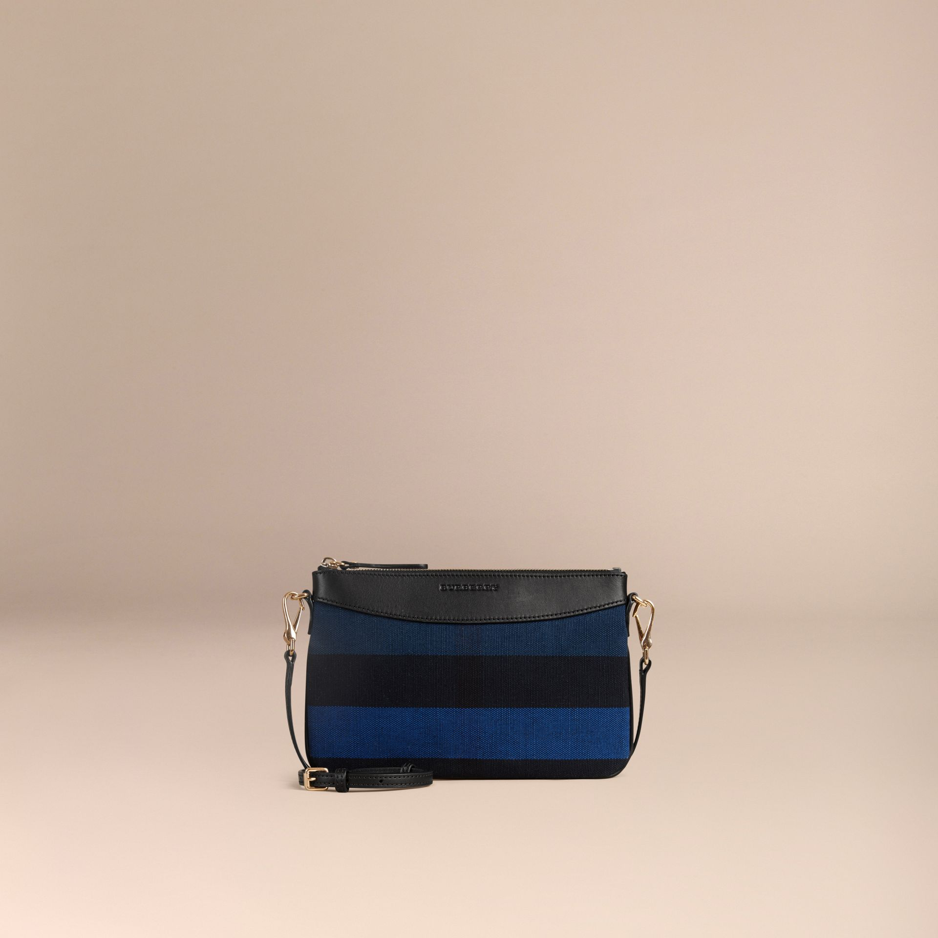 Ultramarine blue Canvas Check Clutch Bag Ultramarine Blue - gallery image 7