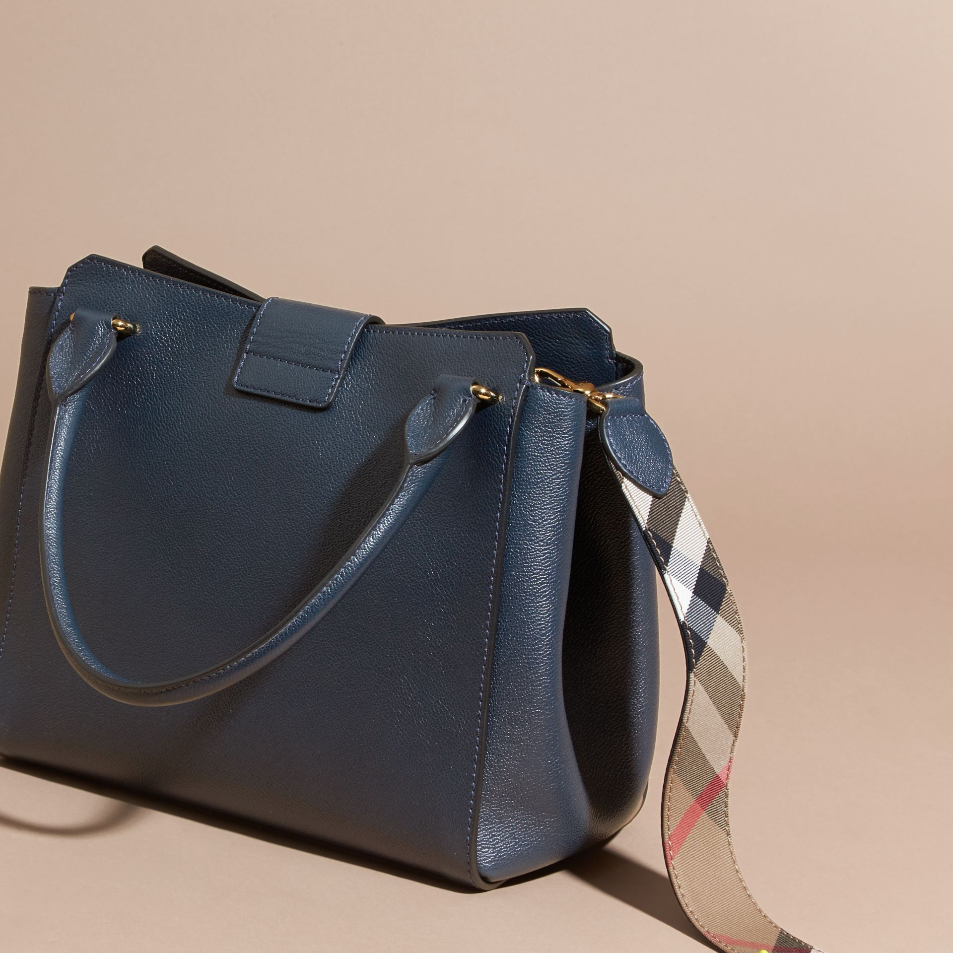The Medium Buckle Tote in Grainy Leather Blue Carbon - gallery image 5