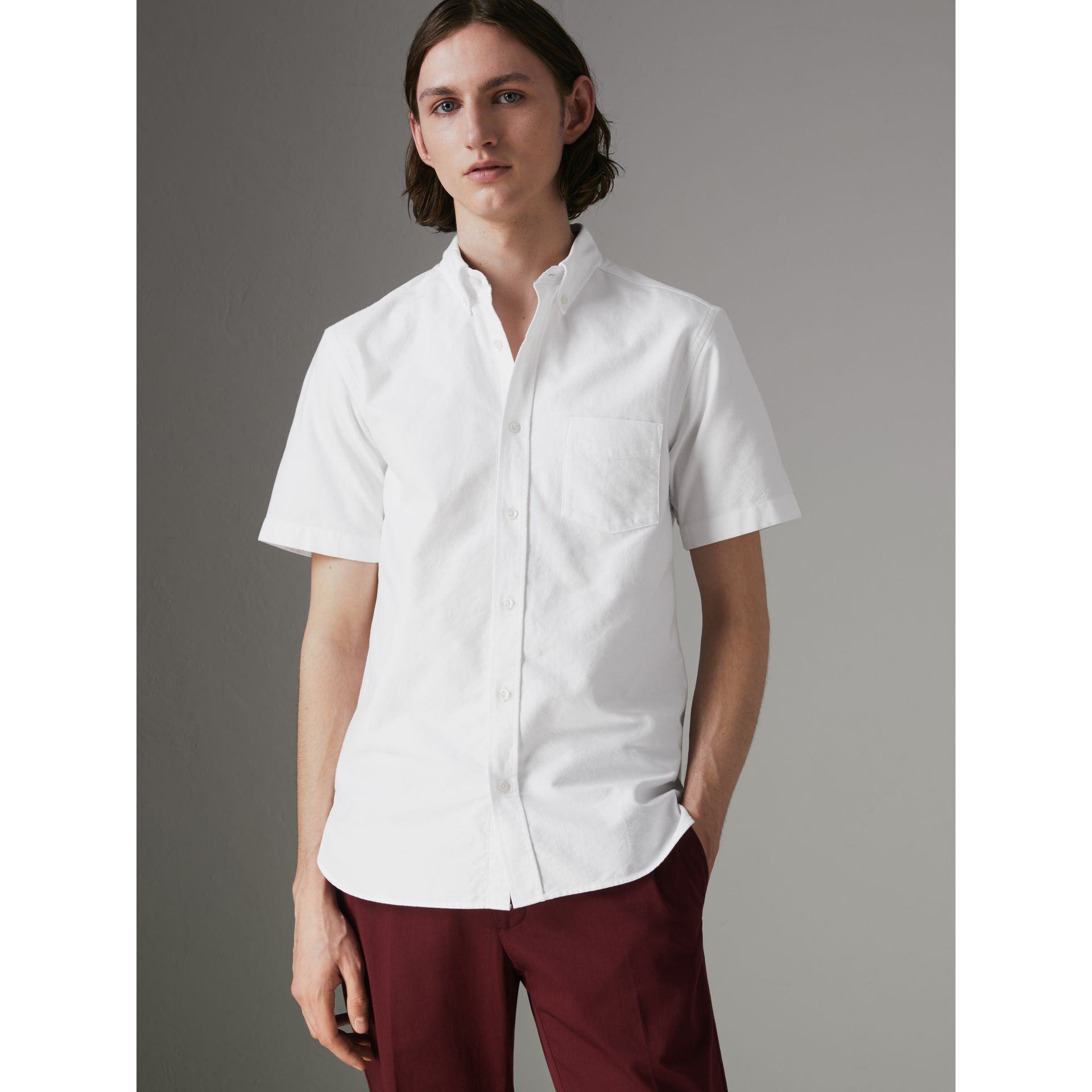 Short-sleeve Cotton Oxford Shirt in White - Men | Burberry - gallery image 0
