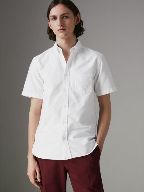 Camisa Oxford de algodão com mangas curtas (Branco)