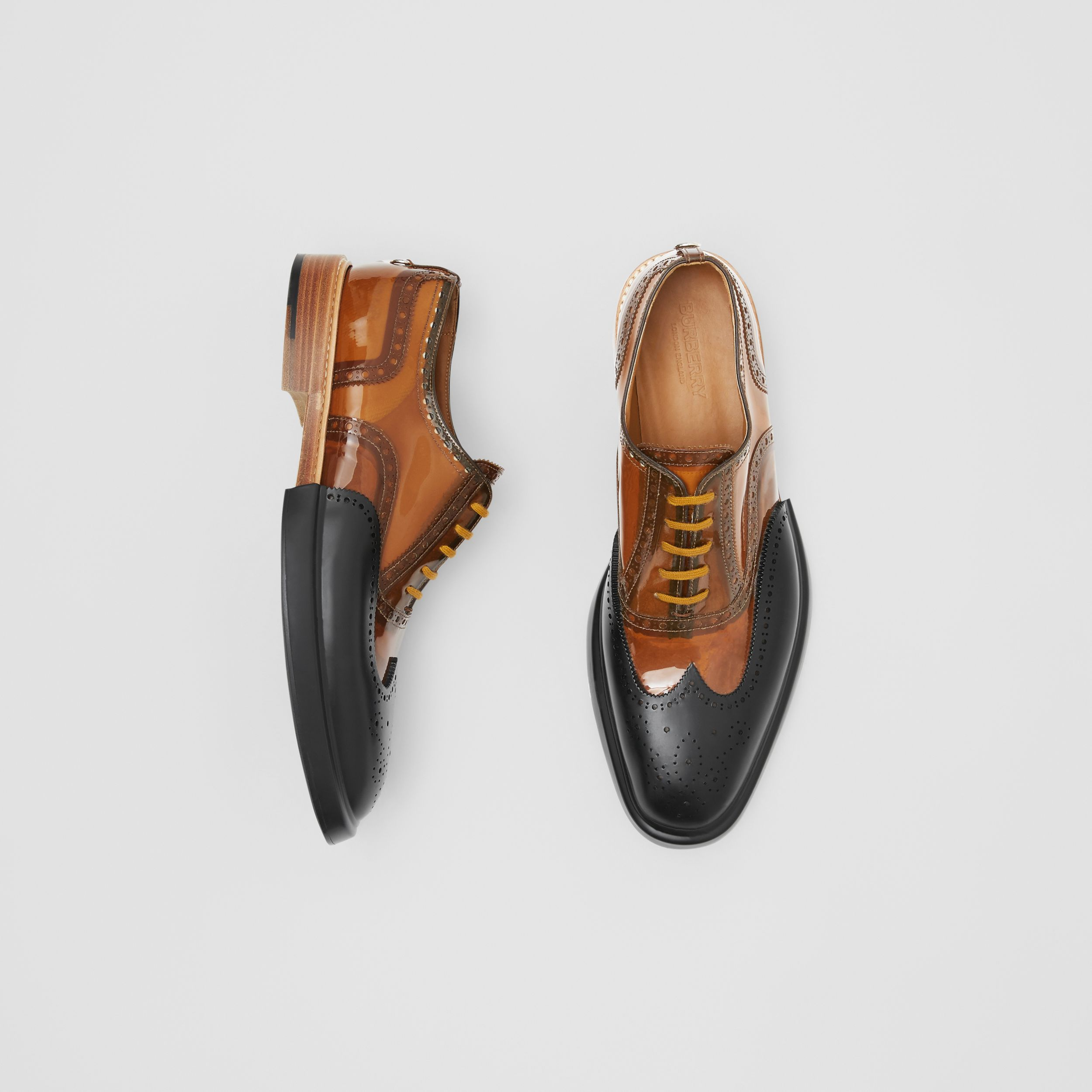 Toe Cap Detail Vinyl and Leather Oxford Brogues in Brown/black - Men | Burberry - 1