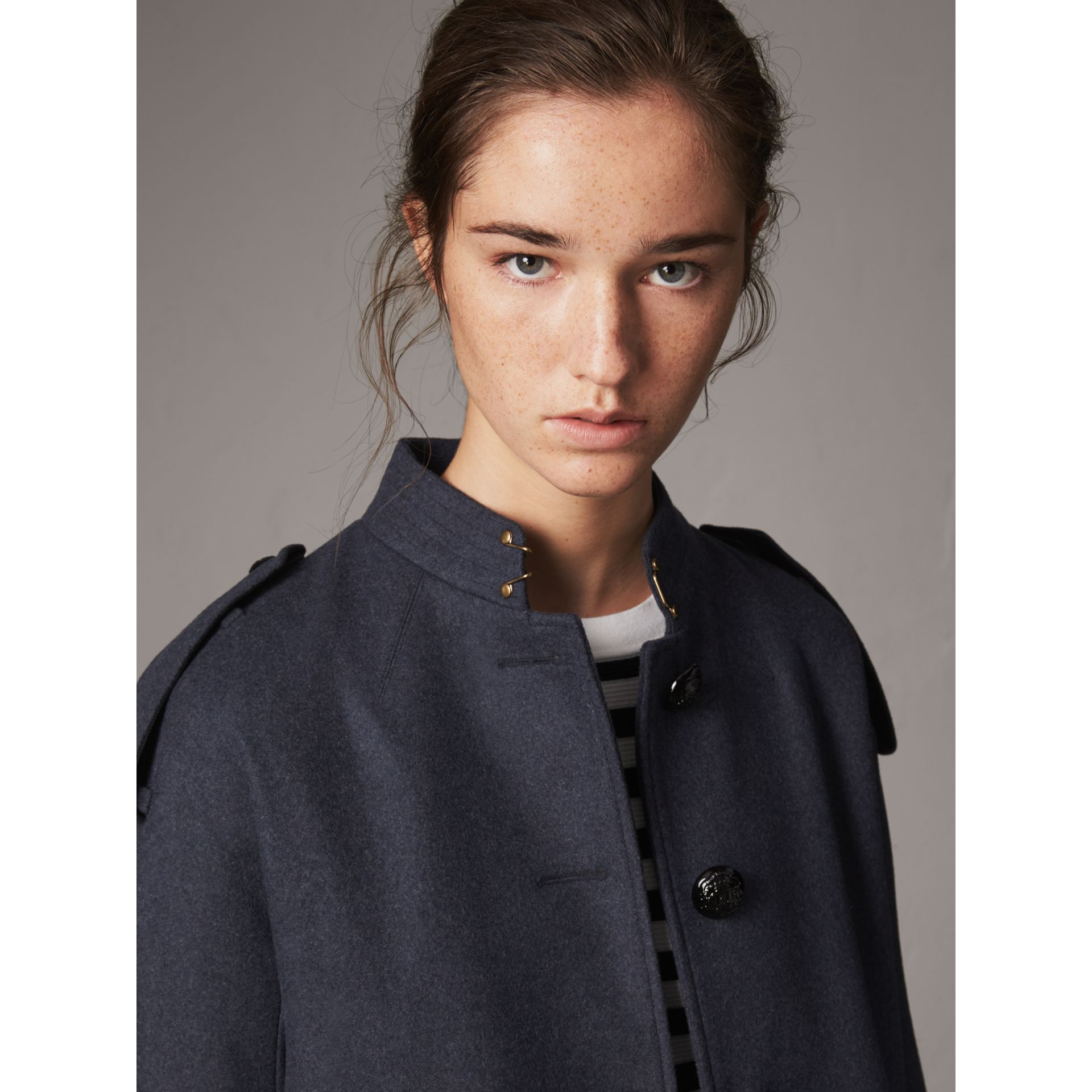 Collarless Wool Blend Coat in Storm Blue Melange - Women | Burberry Australia - gallery image 2