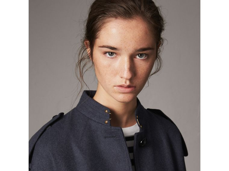 Collarless Wool Blend Coat in Storm Blue Melange - Women | Burberry Australia - cell image 1