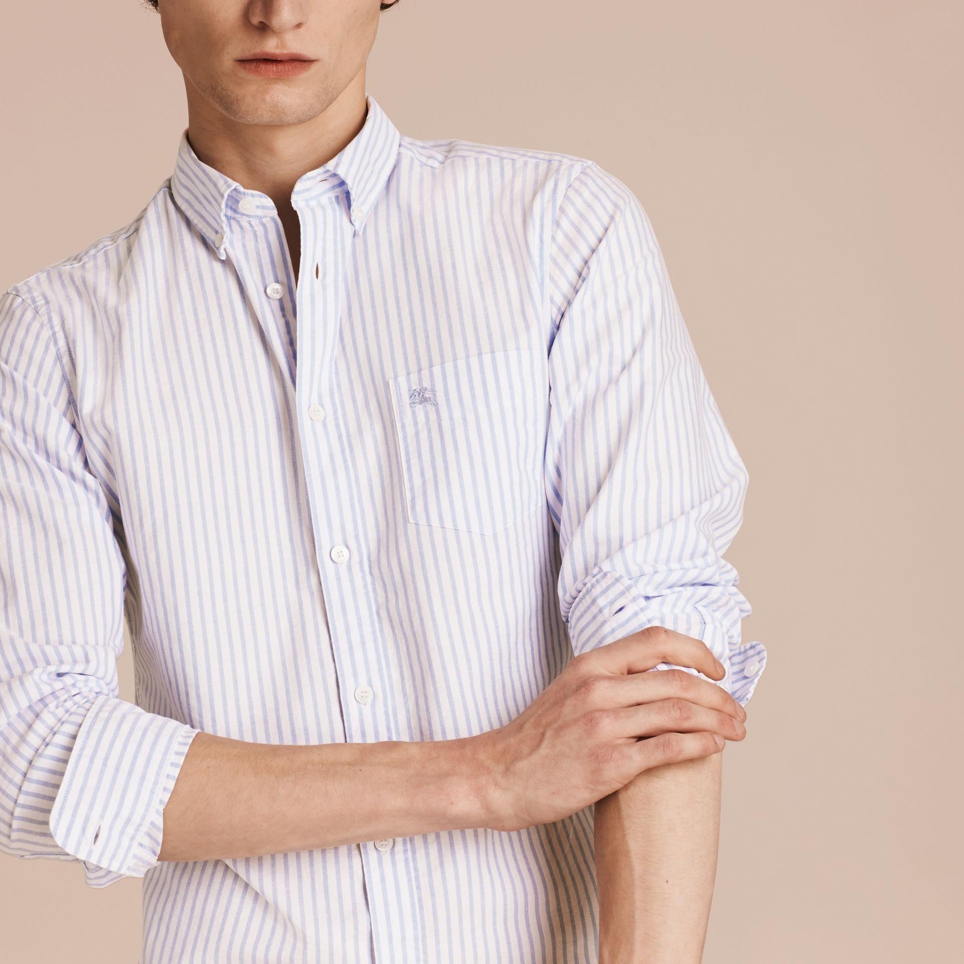 Button-down Collar Oxford Stripe Cotton Shirt Pale Blue - gallery image 4