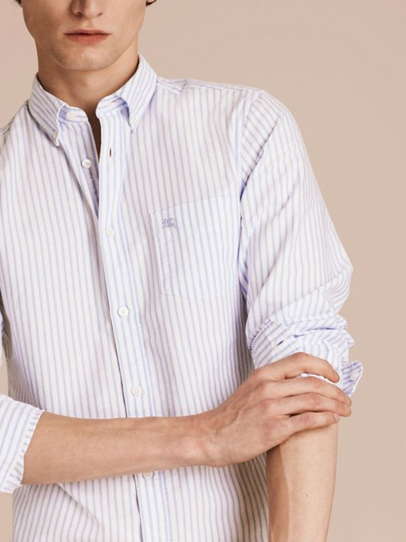 Pale blue Button-down Collar Oxford Stripe Cotton Shirt Pale Blue - cell image 3