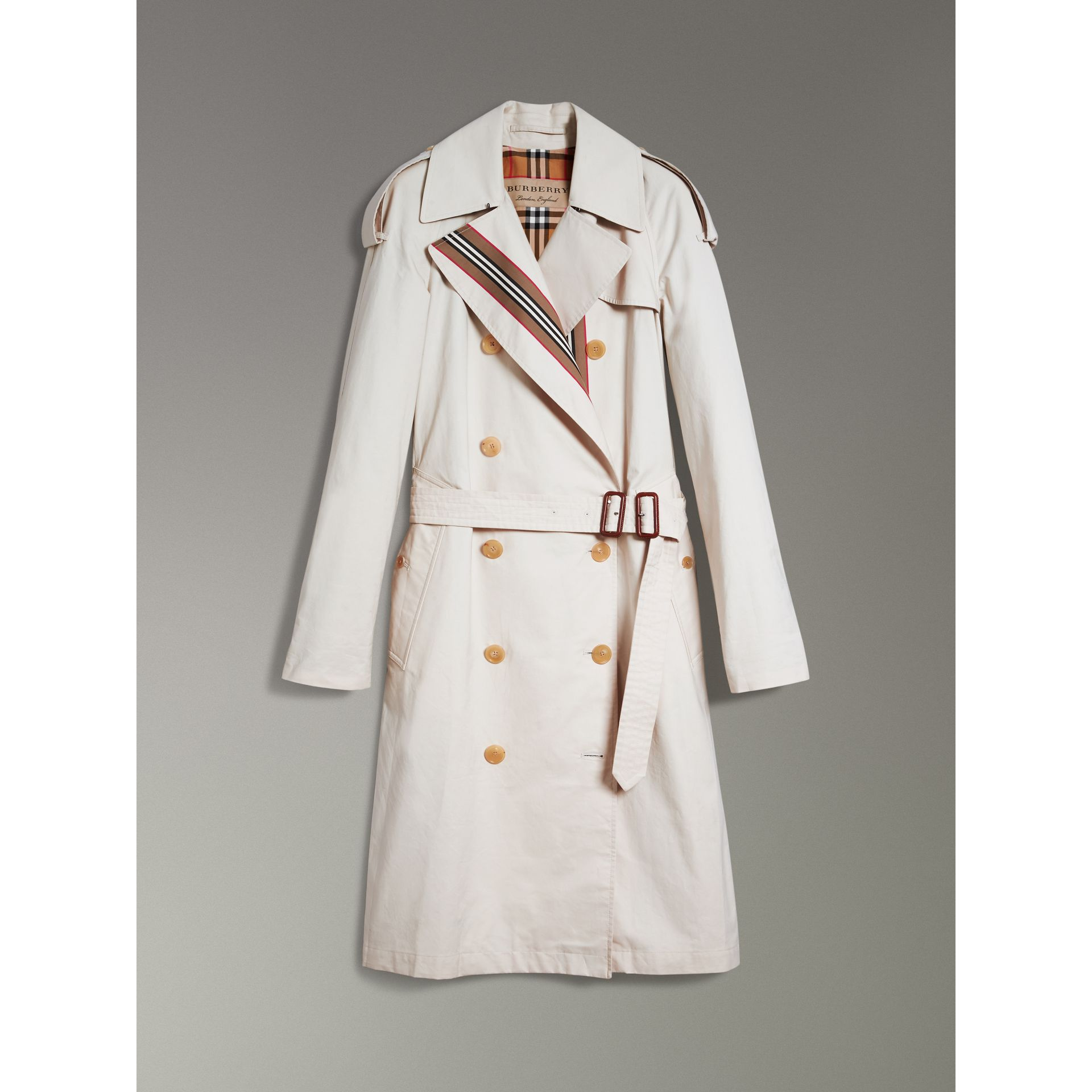 Heritage Stripe Cotton Gabardine Trench Coat in Stone - Women | Burberry - gallery image 3