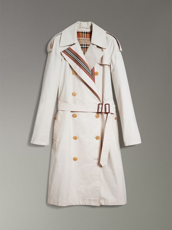Heritage Stripe Cotton Gabardine Trench Coat in Stone - Women | Burberry United Kingdom - cell image 3