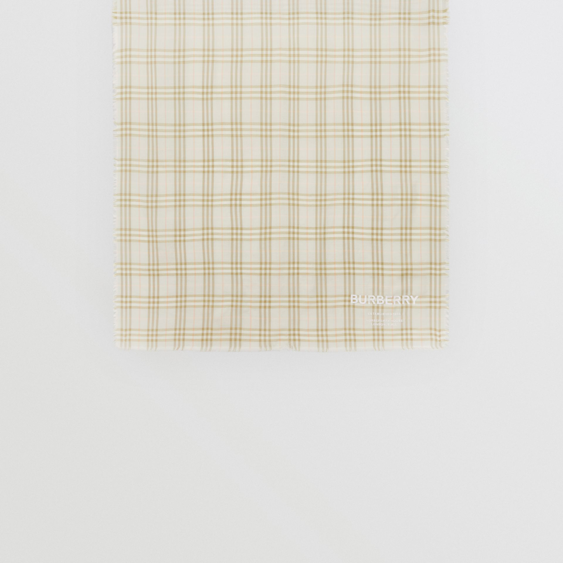 Embroidered Vintage Check Lightweight Cashmere Scarf in Pale Sage | Burberry Singapore - gallery image 4