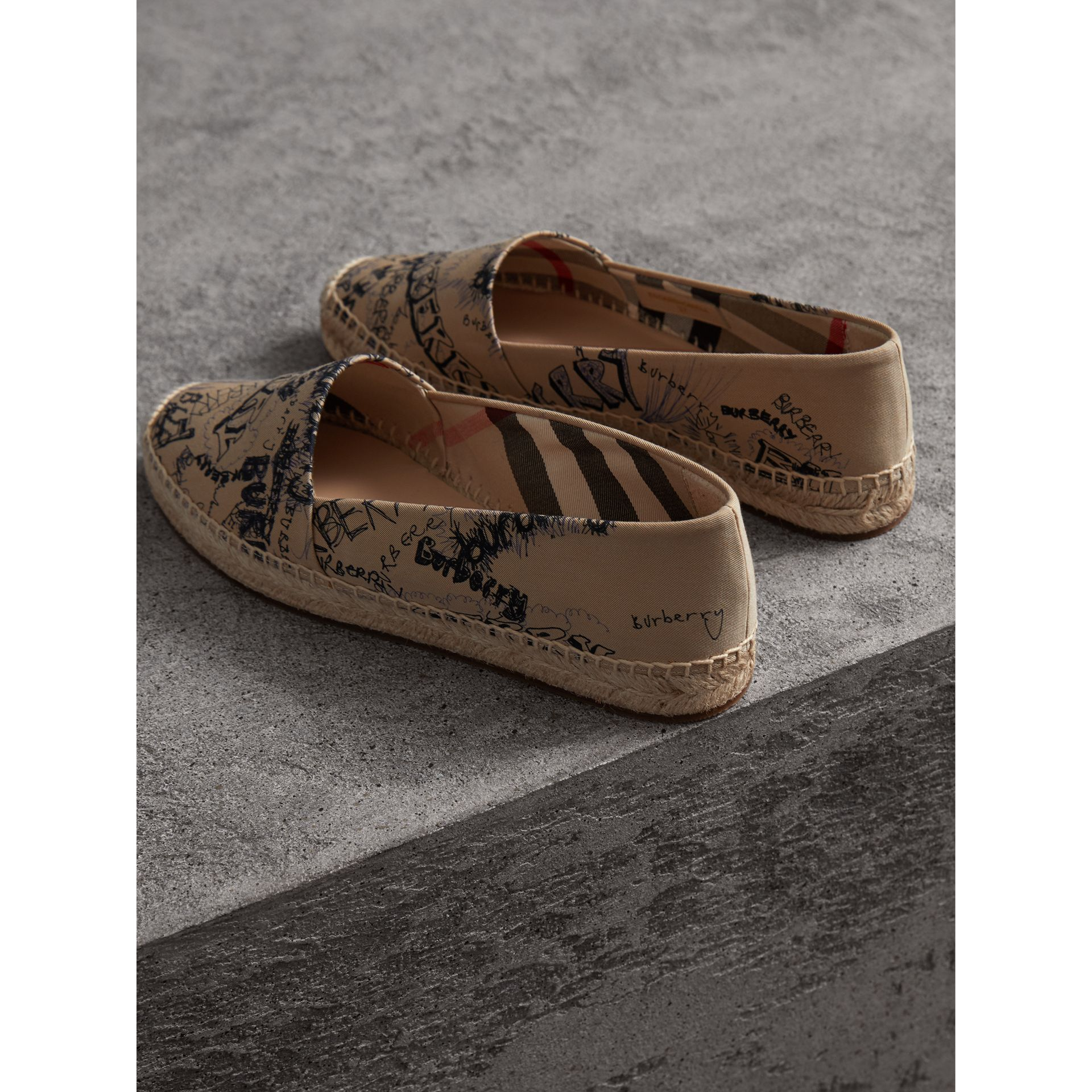 Doodle Print Cotton Gabardine Espadrilles in Honey - Women | Burberry - gallery image 3