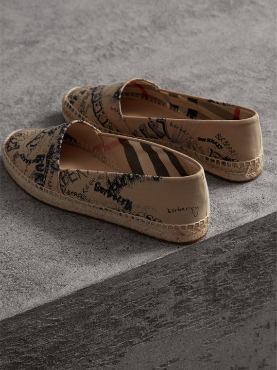 Doodle Print Cotton Gabardine Espadrilles in Honey - Women | Burberry - cell image 3