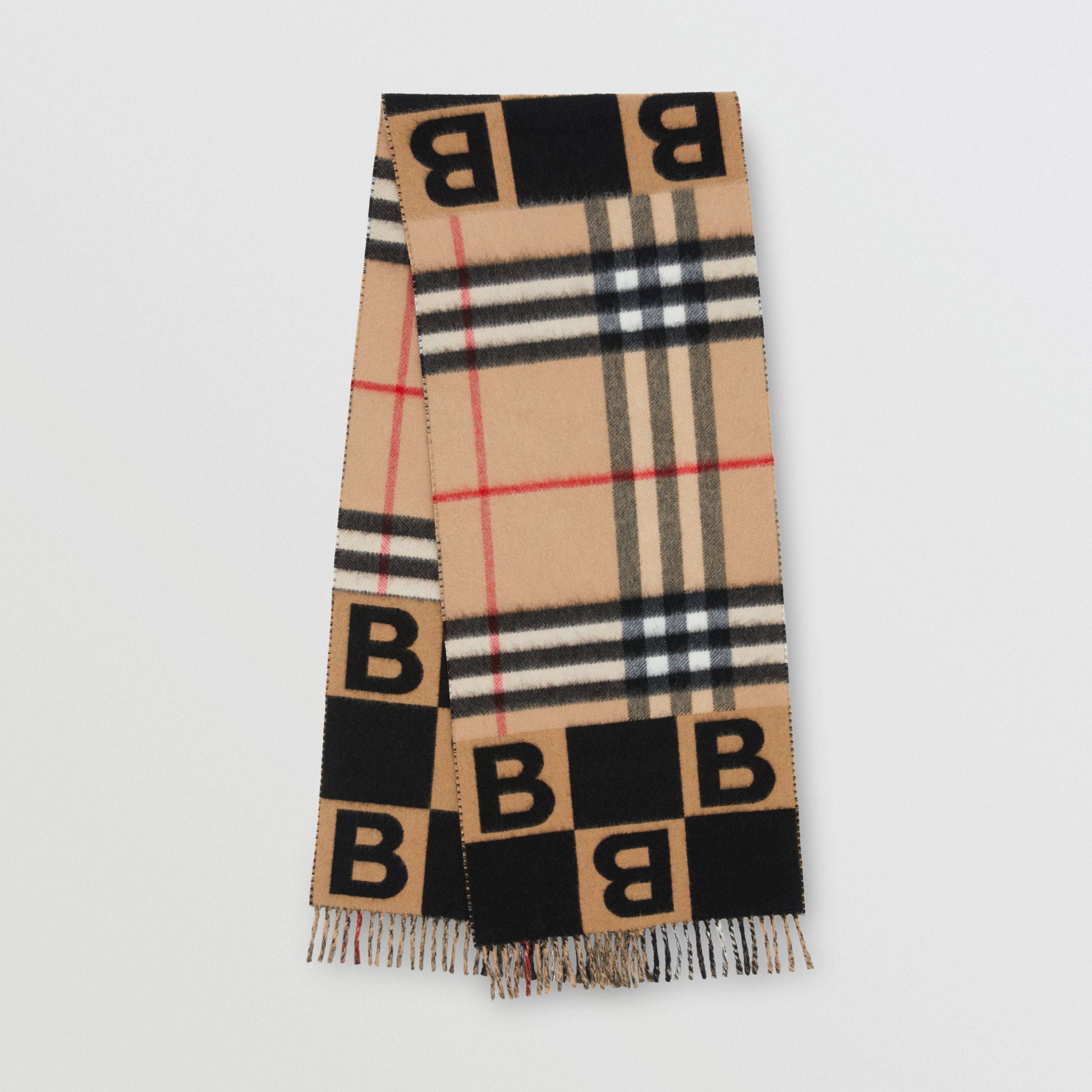 Check and B Motif Wool Cashmere Scarf in Black | Burberry - 1