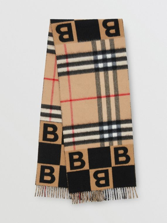 Check and B Motif Wool Cashmere Scarf in Black
