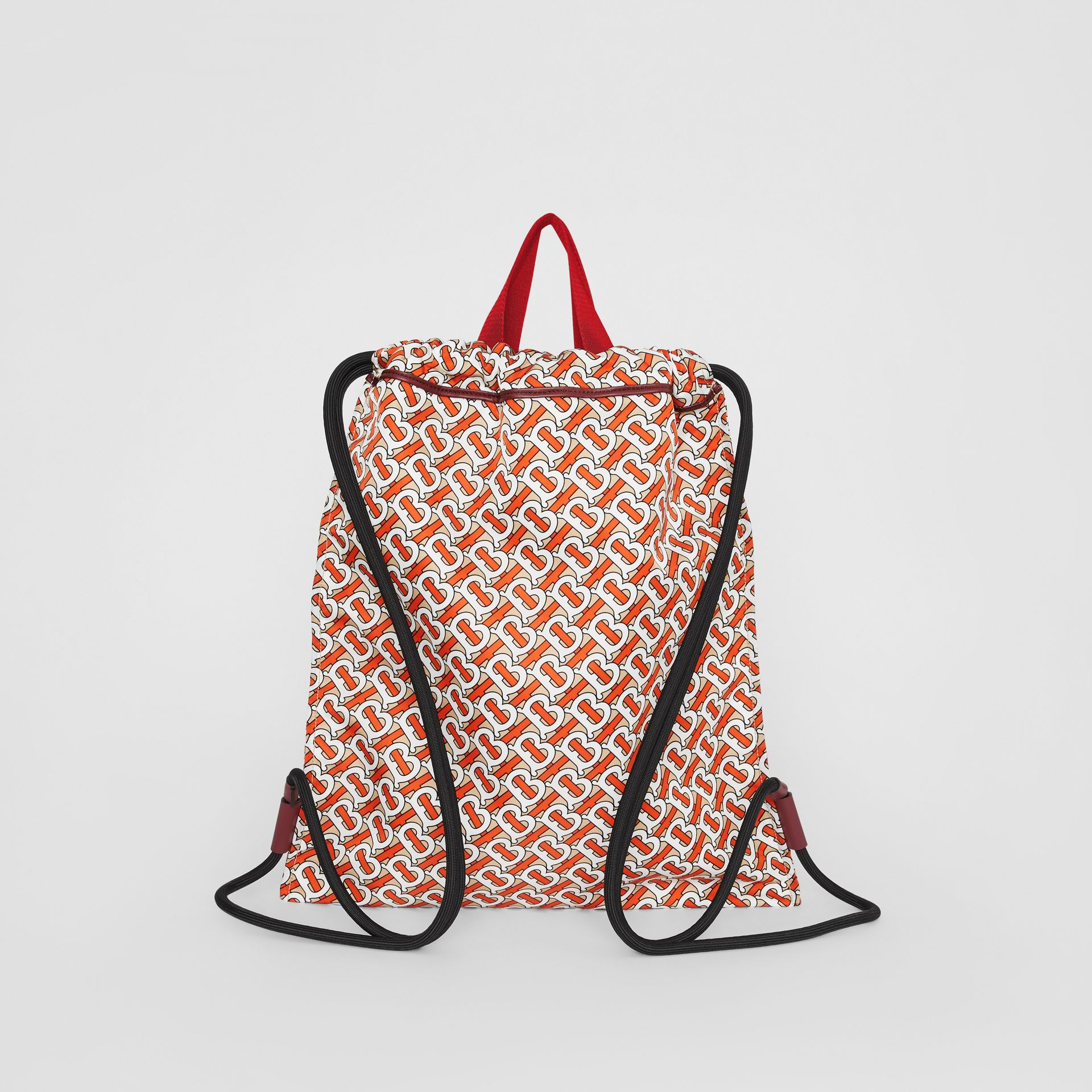 Monogram Print Nylon Drawcord Backpack in Vermilion - Men | Burberry - gallery image 7