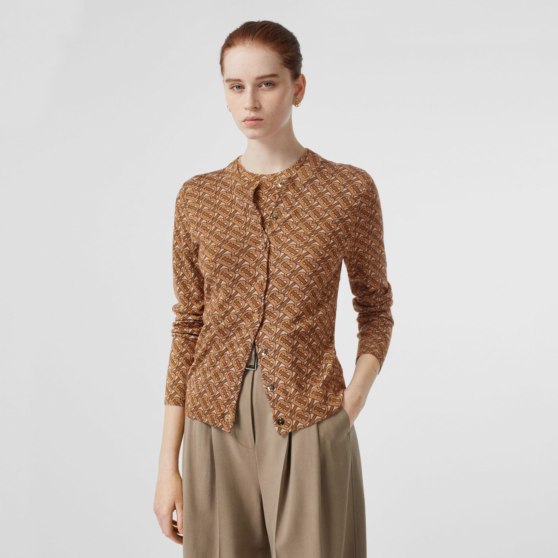 Monogram Print Merino Wool Cardigan in Beige - Women | Burberry Singapore - gallery image 4