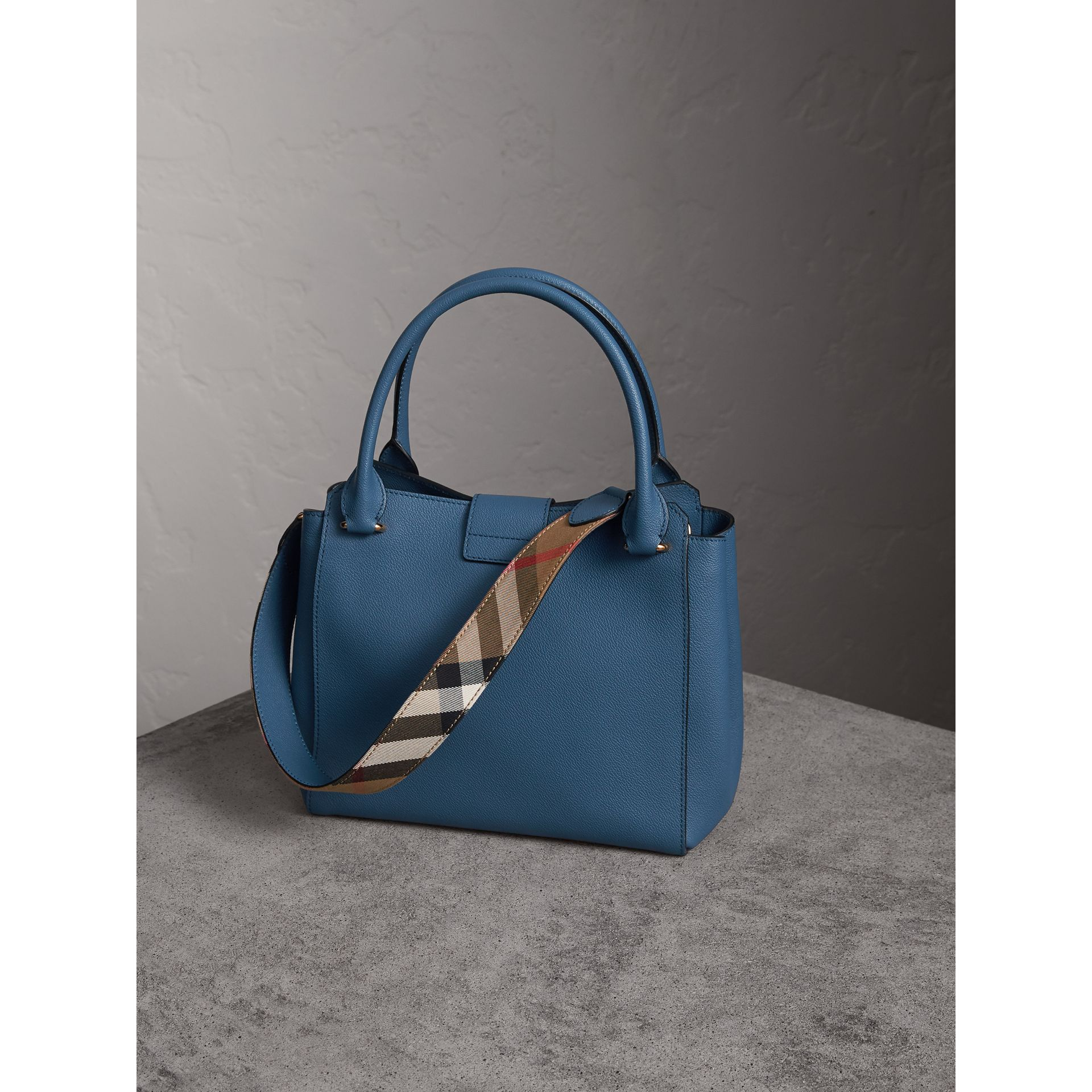 The Medium Buckle Tote in Grainy Leather in Steel Blue - Women | Burberry - gallery image 5