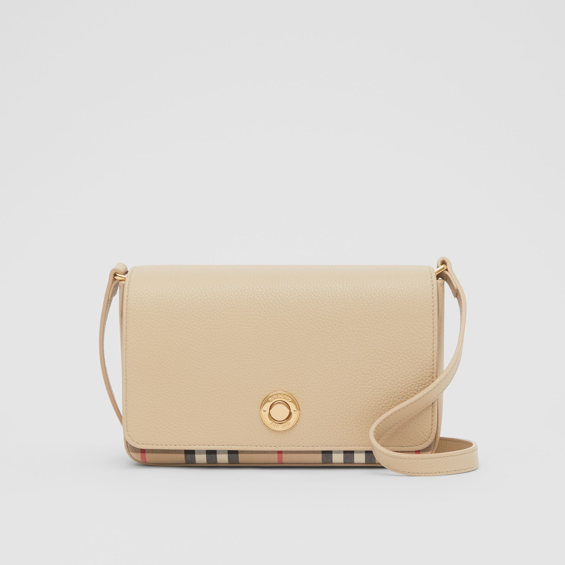 Small Leather and Vintage Check Crossbody Bag in Light Beige - Women | Burberry United Kingdom - gallery image 0