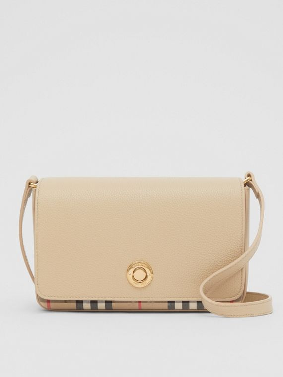 Small Leather and Vintage Check Crossbody Bag in Light Beige
