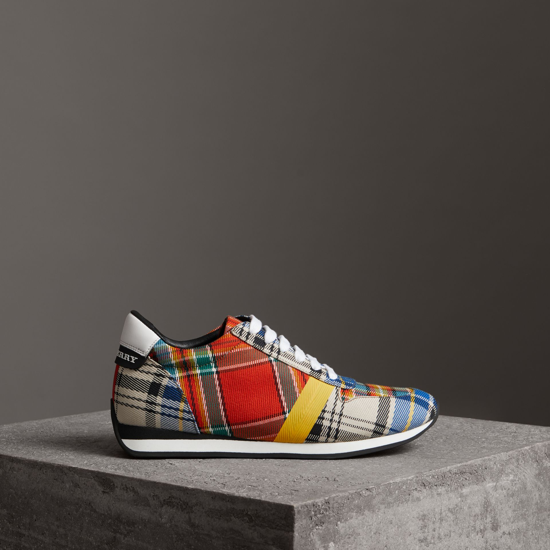 Tartan Cotton Sneakers in Chalk White - Women | Burberry - gallery image 3