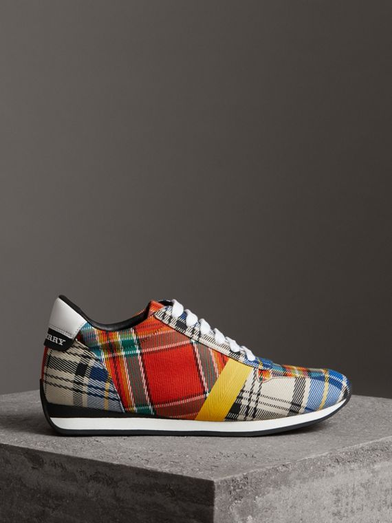 Tartan Cotton Sneakers in Chalk White - Women | Burberry Singapore - cell image 3