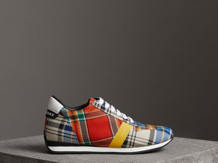Tartan Cotton Sneakers in Chalk White - Women | Burberry - cell image 4