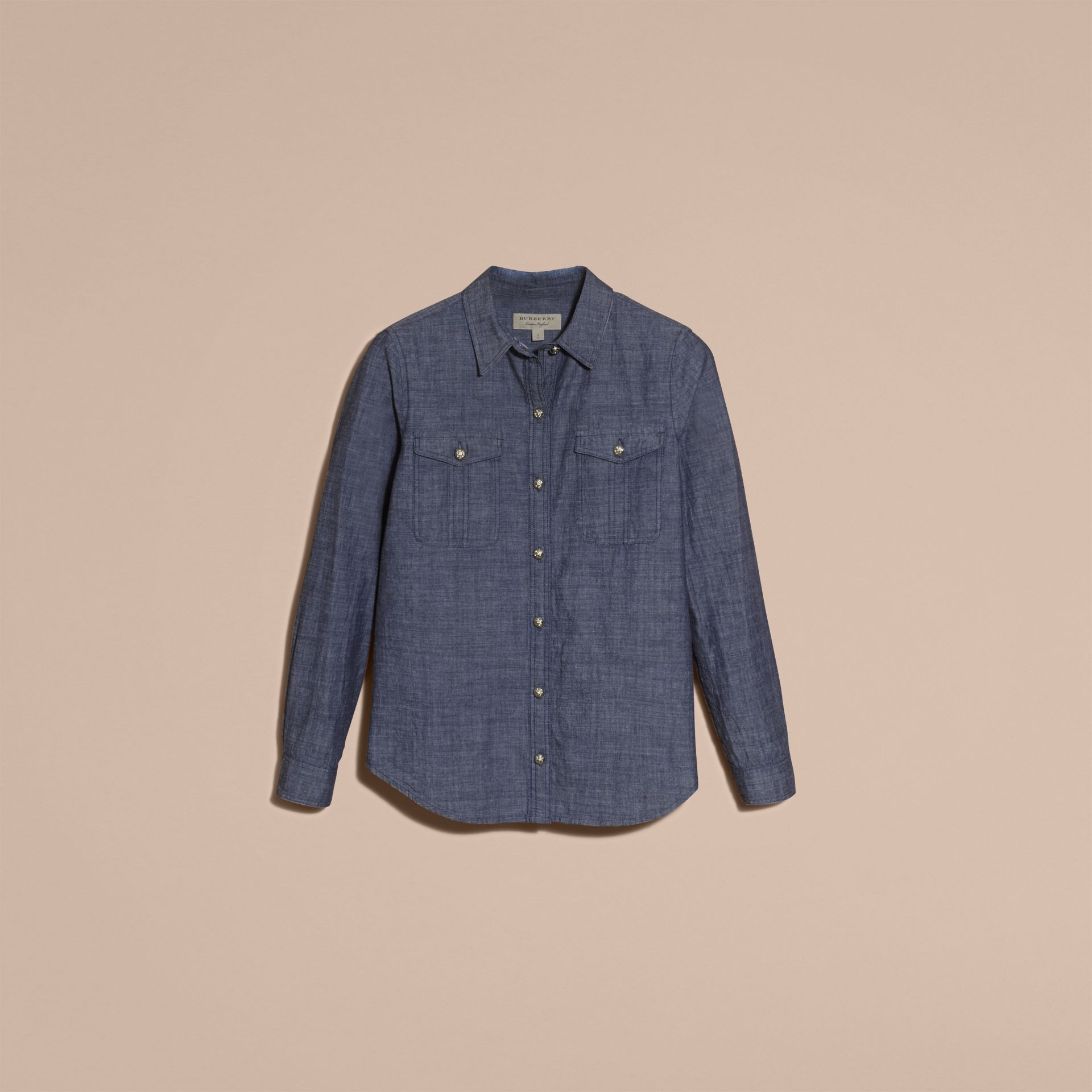 Light indigo Check Detail Denim Shirt - gallery image 4