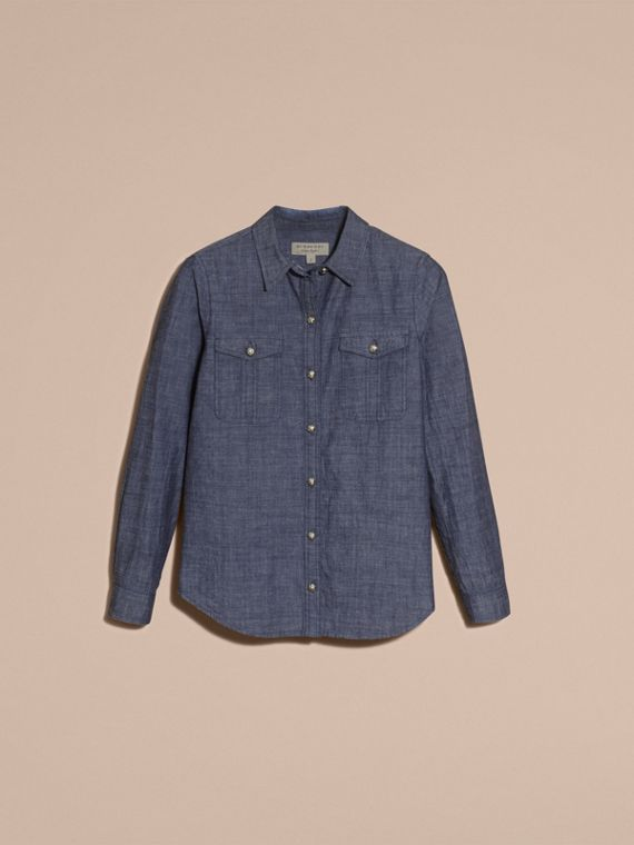 Light indigo Check Detail Denim Shirt - cell image 3
