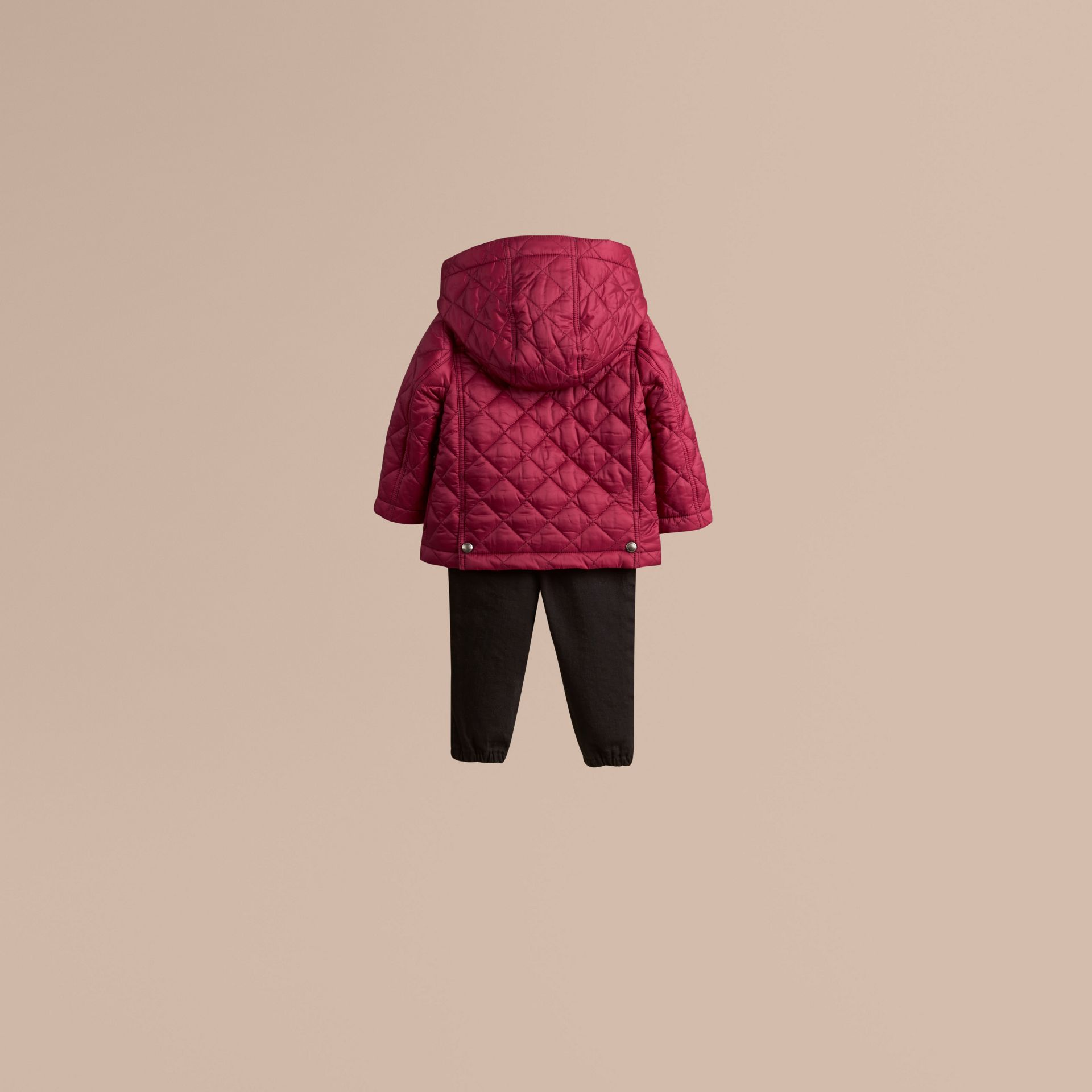 Fritillary pink Quilted Jacket with detachable hood - gallery image 3