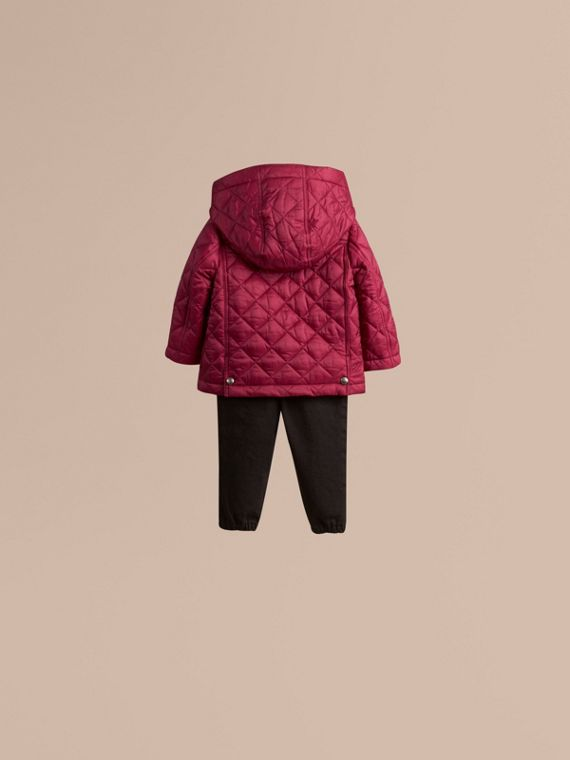 Fritillary pink Quilted Jacket with detachable hood - cell image 3