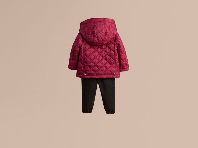 Fritillary pink Quilted Jacket with detachable hood - cell image 2